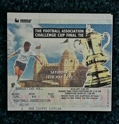 £2.99 • Buy Ticket 1993 FA Cup Final - ARSENAL V. SHEFFIELD WEDNESDAY