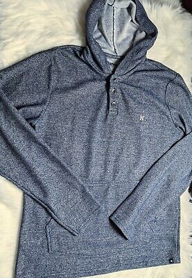 $15.99 • Buy Hurley Size Medium Men's Blue Long Sleeve Sweater With Hood Button Front