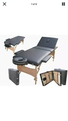 £39 • Buy Massage Table Bed Black Therapy Beauty 3 Way Adjustable Couch Salon Portable