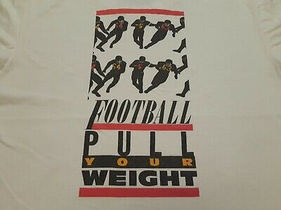 £7.26 • Buy VTG 90s NIKE Gray Tag FOOTBALL PULL YOUR WEIGHT Double Sided T Shirt WHT Medium