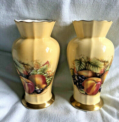 £10.50 • Buy 2 X Aynsley Fine Bone China Orchard Gold Small Vase 6  Tall - Seconds