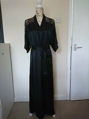 AU93.41 • Buy Rosie Exclusively For Marks&spencer Black Silk Wrap Robe/dressing Gown 12 Bnwt