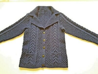 £18.99 • Buy Hand Knit Traditional Navy Aran Wool Cardigan Size L Bust 38 In Reveres Collar