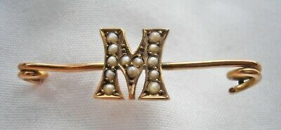 £19 • Buy Cute Antique Victorian 9ct Rose Gold Brooch Seed Pearl Set Letter 'M'