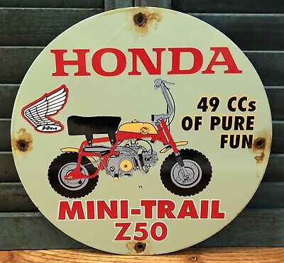 $ CDN14.31 • Buy Vintage 1971 Dated Porcelain Honda Mini-trail Z50 Gas And Oil Sign