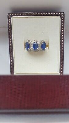 £95 • Buy 9ct Gold Blue And White Sapphire Ring, Please Read Description