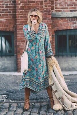 AU261 • Buy Spell And The Gypsy Folk Town Folktown Turquoise Midi Maxi Dress Size Small