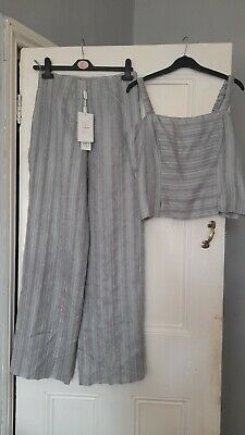£9.99 • Buy Beautiful Raw Silk Grey/Silver Trouser Suit By Michel Ambers Size 12
