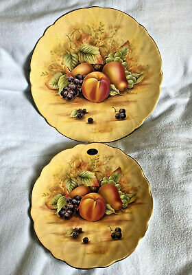 £19.99 • Buy 2 X Aynsley China Orchard Gold Yellow Fruits 10½  8½  Decorative Crocus Plate D