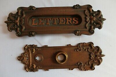 $99 • Buy Wonderful Matching Antique Ornate Brass Door Backplate & Letter Mail Slot
