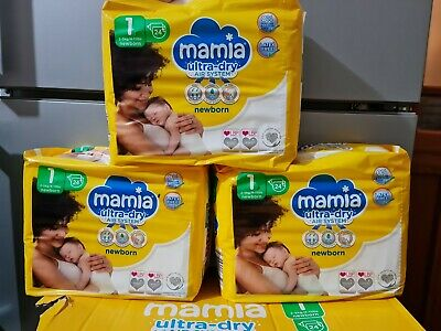 £9.79 • Buy 3 X Mamia New Born Size 1 Nappies Pack Of 24 (72 In Total) !!! Free Delivery !!!