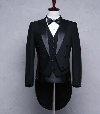 £75.58 • Buy Mens Jackets Belt Pants Bow Tie 4-Piece Suits Swallow-tailed Party Magic Wedding