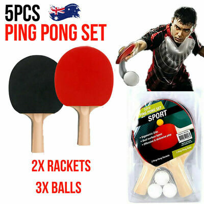 AU12.68 • Buy 5PCS Table Tennis Ping Pong Set Includes 2 Rackets And 3 Balls AU Stock NEW