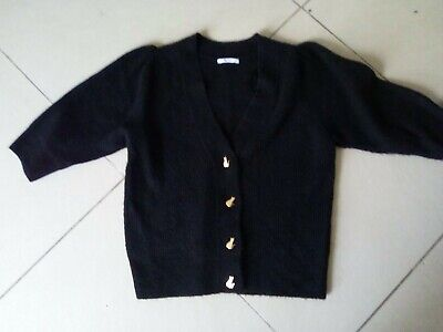£3.99 • Buy Fab Knitted Bla K Cardigan With Cat Buttons Size 16 From TU
