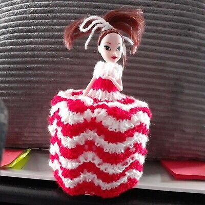 £5.75 • Buy Retro Toilet Roll Cover Doll Hand Knitted #11