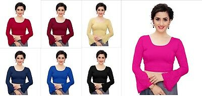£9.93 • Buy Lycra Saree Blouse Stitched Indian Designer Wedding Wear Full Sleeve  Blouse Top