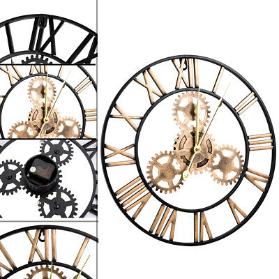 £11.37 • Buy LARGE OUTDOOR GARDEN WALL CLOCK 40CM ROMAN NUMERALS OPEN FACE METAL ROUND Gold