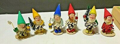 $ CDN62.69 • Buy Vtg Lot Of 6 Christmas Pinecone Elf Gnomes Set Flocked Hats Made In West Germany
