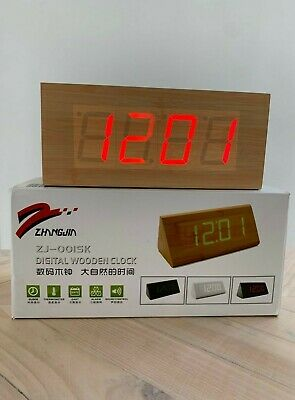 £3 • Buy Wooden Effect Rectangle Clock Digital Alarm Clock Time Date Thermometer
