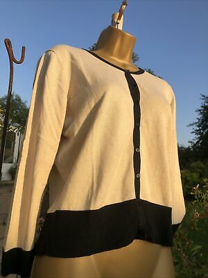 £12.50 • Buy HOBBS Black & Cream  Silk And Cashmere Blend Fine Knit Button Up Cardigan Size M