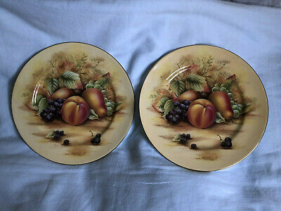 £18.99 • Buy 2 X Aynsley China Orchard Gold Yellow Fruits 8¼  Plate. Pink/Red Backstamp