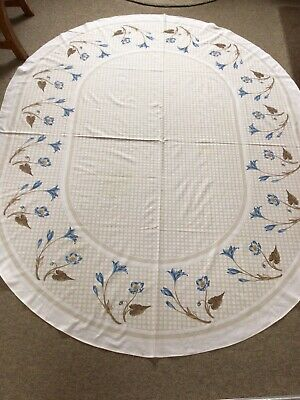 £5.99 • Buy Ameide Di Cassera Large Oval Tablecloth 87 X 69 Ins Blue Floral On White Beige
