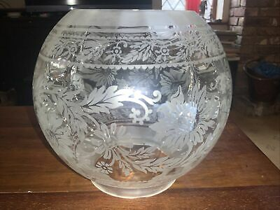 £24 • Buy Vintage/Antique Etched Glass Oil Lamp Globe / Shade, 4  Fitter - Stylised Floral