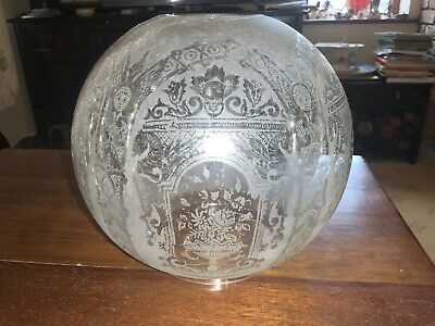£25 • Buy Vintage/Antique Etched Glass Oil Lamp Globe / Shade, 4  Fitter - Stylised Floral