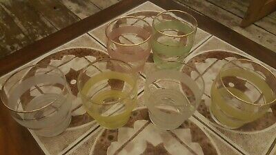 £22 • Buy Vintage 1950s  French  Sugar Frosted Harlequin Gilded GLASSES X 6 - Retro Mcm