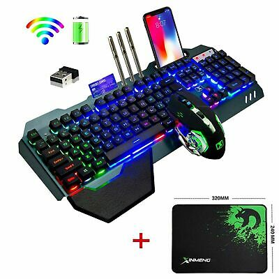 AU62.99 • Buy AU Wireless Gaming Keyboard +Mouse,Rainbow Backlit Rechargeable Keyboard Mouse