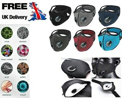 £2.45 • Buy Face Mask Anti Pollution PM2.5 Two Air Vent With Filter Reusable Washable Sports