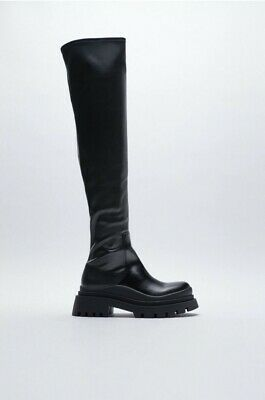 £41.99 • Buy Zara New Flat Over-The-Knee Boots With Track Soles Size 5/38