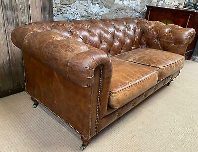 £995 • Buy Tan Halo Asquith Semi Aniline Leather CHESTERFIELD BUTTONED 2 Seater SOFA