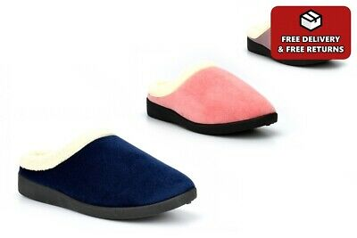 £9.99 • Buy Womens Mule Slippers Ladies Slippers Soft Insole Fleece Lined Warm Navy Pink