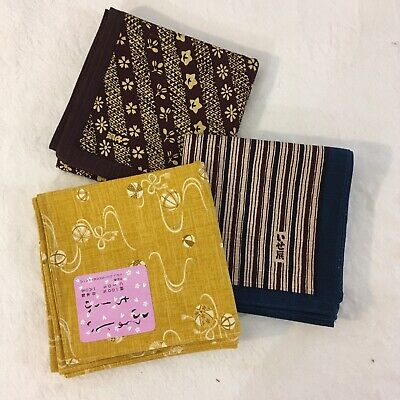 £6 • Buy 3 X Japanese Original Print Cotton Fabric 50cm Square With Finished Edges