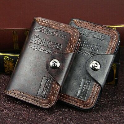 $8.99 • Buy Mens Men's Retro Leather Vertical Section Credit Card Holder Wallet With Hasp