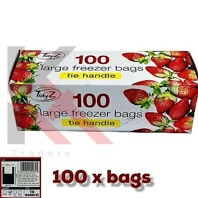 £4.29 • Buy 100 Large Freezer Bags Food Bag With TIE Handle STRONG 26 Cm X 40 Cm