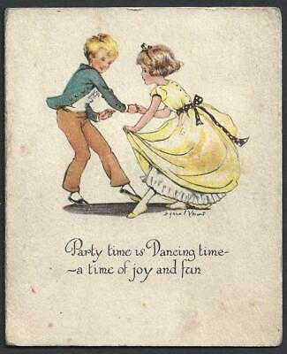 £2.99 • Buy Q61 - Dancing Couple - Artist Signed - 1939 - Vintage Folding Party Invite Card