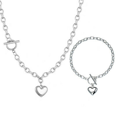 £3.95 • Buy Heart Pendant 925 Silver Plated Chain Necklace Bracelet Set Girls Jewellery Gift