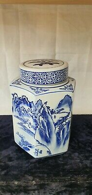 £4.99 • Buy Vintage Ceramic Japanese Or Chinese Blue And White Tea Caddy
