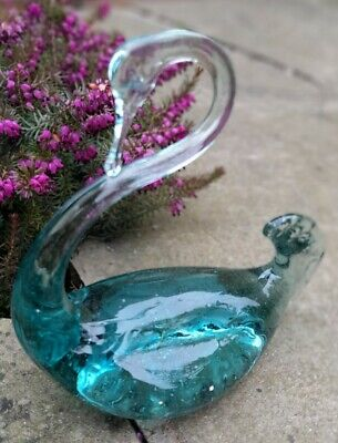 £4.99 • Buy Vintage Beautiful Teal Green Glass Swan Murano Paperweight Ornament