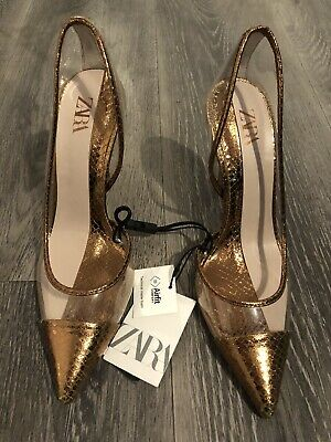 £4.99 • Buy Zara Clear & Bronze Gold Stiletto Shoes (airfit Comfort) 37 (4) New With Tags