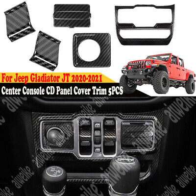 $46.99 • Buy For Jeep Gladiator JT 2020-2021 Carbon Center Console CD Panel Cover Trim 5PCS