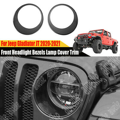 $36.98 • Buy For Jeep Gladiator JT 2020-2021 Carbon Front Headlight Bezels Lamp Cover Trim 2x