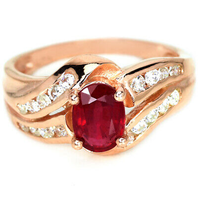£8.99 • Buy Genuine Aaa Pink Red Ruby Oval & White Cz Sterling 925 Silver Ring Size 6