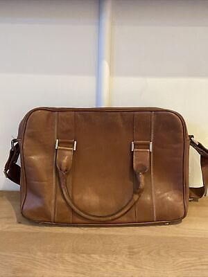 $209.62 • Buy Alfred Dunhill Brown Cricket Stitch Leather Document Laptop Case Bag Calf Vgc