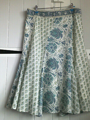 £18 • Buy Beautiful100% Cotton Lined`Anokhi For East` Ethnic Block Print Flare Skirt 14/16