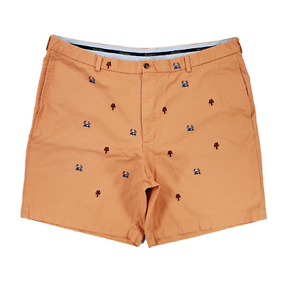 $19.99 • Buy Brooks Brothers Shorts Mens 44 Orange Embroidered Crab Lobster 9  Casual Chino