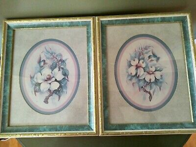 $24.99 • Buy Homco Home Interior Set Of Two Magnolia And Hummingbird Pictures