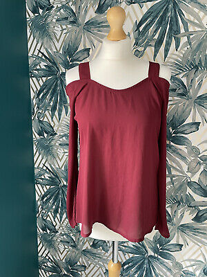 £6.99 • Buy Boohoo Off The Shoulder Burgundy Womens Top Size 10